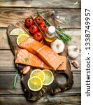 raw salmon fish filet with... | Shutterstock . vector #1338749957