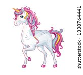 white unicorn with rainbow mane ... | Shutterstock . vector #1338764441