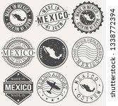 mexico set of stamps. travel... | Shutterstock .eps vector #1338772394