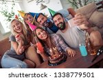 happy group of  friends... | Shutterstock . vector #1338779501