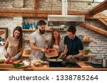 cheerful group of friends... | Shutterstock . vector #1338785264