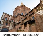 Travel to Italy - view of Duomo di Pavia (Cathedral of Pavia, Cattedrale di Santo Stefano Martire e Santa Maria Assunta) from street Via Jacopo Bossolaro in Pavia city in morning