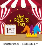 circus with calendar and joker... | Shutterstock .eps vector #1338833174