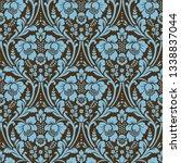 seamless damask pattern. blue...   Shutterstock . vector #1338837044
