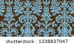seamless damask pattern. blue...   Shutterstock . vector #1338837047