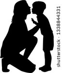 mom's silhouette with a child.   Shutterstock .eps vector #1338844331