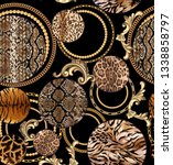 Small photo of seamless Leopard pattern and golden chain texture repeating Texture Leopard Fashionable print. Fashion and stylish - Vektor