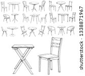 sketch  lines table and chair ... | Shutterstock .eps vector #1338871967