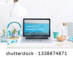 computer staying on a table  ... | Shutterstock . vector #1338874871