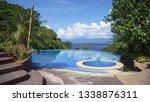 infinity pool with kiddie pool... | Shutterstock . vector #1338876311