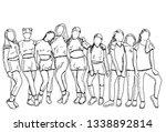 sketch of children stand hugging | Shutterstock .eps vector #1338892814