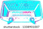 vintage blue radio from sixties ... | Shutterstock . vector #1338901007