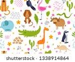 cute african animals  birds and ...   Shutterstock .eps vector #1338914864