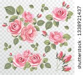 roses on a transparent... | Shutterstock .eps vector #1338921437
