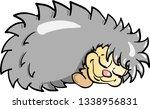 cartoon hedgehog sleeping with... | Shutterstock .eps vector #1338956831