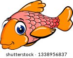 cartoon red fish with a lot of... | Shutterstock .eps vector #1338956837