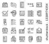 online vote icons set. outline... | Shutterstock .eps vector #1338974354