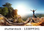 hiker with backpack enjoying... | Shutterstock . vector #133899341
