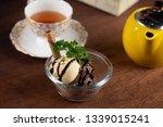 vanilla and chocolate ice cream ... | Shutterstock . vector #1339015241