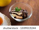 vanilla and chocolate ice cream ... | Shutterstock . vector #1339015244