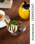 vanilla and chocolate ice cream ... | Shutterstock . vector #1339015247