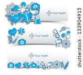 Medical banners set with icons. Vector Illustration, eps 10, contains transparencies.