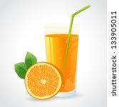 a glass of fresh orange juice... | Shutterstock .eps vector #133905011