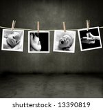 Stock photo pictures of a newborn and mother in a darkroom 13390819