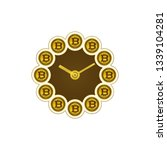 bitcoins and clock. time and... | Shutterstock .eps vector #1339104281