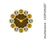 dollar and euro coins  clock.... | Shutterstock .eps vector #1339104287