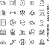thin line icon set   office...