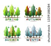 set of four seasons forest...
