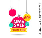 mega sale tag or label with 60  ... | Shutterstock .eps vector #1339195211