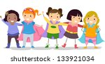 illustration of little girls in ... | Shutterstock .eps vector #133921034