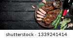 grilled beef steak with red...   Shutterstock . vector #1339241414