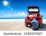 summer car on beach and sea... | Shutterstock . vector #1339297037