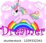 pink unicorn on a rainbow....   Shutterstock . vector #1339332341