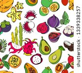 exotic fruits pattern. all... | Shutterstock .eps vector #1339338257