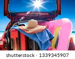 summer car on beach and sunny... | Shutterstock . vector #1339345907