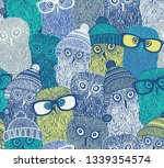 seamless pattern with cute owls ... | Shutterstock .eps vector #1339354574