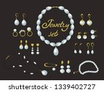 jewelry set. gold and pearls... | Shutterstock .eps vector #1339402727