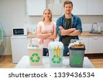 waste sorting at home. protect... | Shutterstock . vector #1339436534