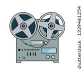 reel tape recorder icon. flat...