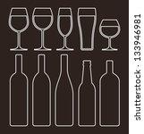bottles and glasses set | Shutterstock .eps vector #133946981