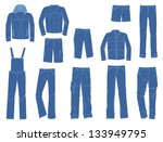 a set of silhouettes of denim... | Shutterstock .eps vector #133949795