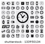 vector black clocks icon set on ... | Shutterstock .eps vector #133950134