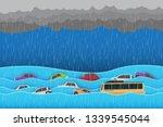city   flood  water in city... | Shutterstock .eps vector #1339545044