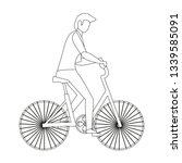 man riding bike | Shutterstock .eps vector #1339585091