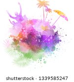 abstract painted splash shape... | Shutterstock .eps vector #1339585247