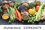 healthy organic food on dark... | Shutterstock . vector #1339626674